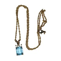 Faux Emerald-Cut Aquamarine Pendant - March Birthstone