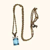 Faux Emerald-Cut Aquamarine Pendant - March Birthstone