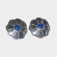 Sterling Silver Concho Earrings with Lapis Lazuli Centers - Original Card