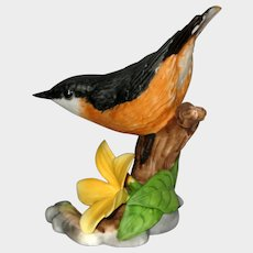 """Nuthatch Porcelain Figurine - Franklin Mint """"Birds  and Blossoms of the World"""" Collection"""