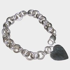 Heavy Sterling Silver Rollo Chain Bracelet with Heart Charm