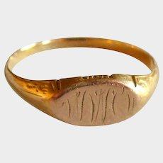 Victorian 10K Gold Signet Ring - Engraved - Adult Size 8.5