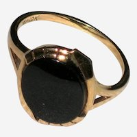 10K Yellow Gold Onyx Helm and Hahn Art Deco Ring - Size 7