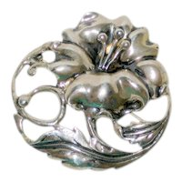 Sterling Silver Hibiscus or Rose of Sharon Pin