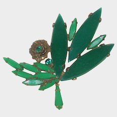 Unusual 1930's Green Glass Deco Brooch with Rose