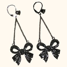 Marcasite Bow Dangle Earrings - Circa 1990
