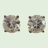 Brilliant 4 carat (8mm) Cubic Zirconia Sterling Earrings