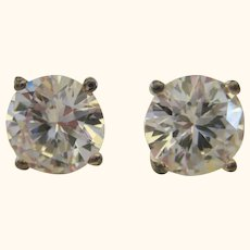 Brilliant 4 carat (8mm) Cubic Zirconia Sterling Earrings