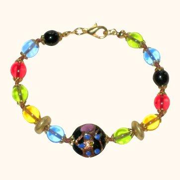 """Venetian Murano Glass Bead Bracelet 7 3/4"""""""