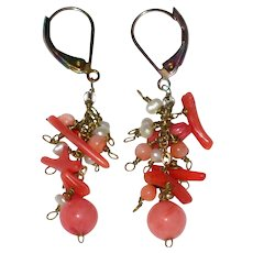 Branch Coral and Seed Pearl Earrings