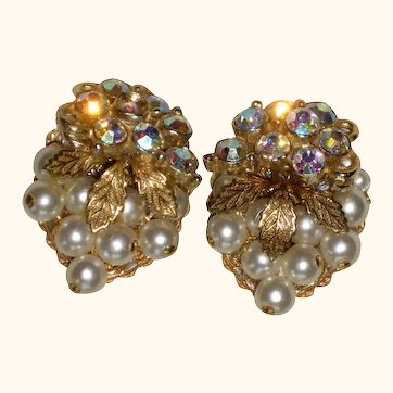 1950's Bead Cluster Clip-on Earrings with Iridescent Stones and Faux Pearls
