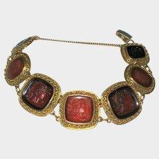 Exceptional Glass Intaglio Cameo Bracelet
