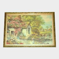 1930's Framed Nostalgic Print - Country Scene with Thatched Roof Cottage