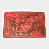 Chinese Cinnabar Lacquer Box with Oriental Scene