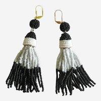 Black and White Beaded Tassel Earrings