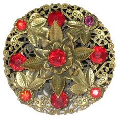 Large 1930's Stamped Brass Pin with Red Glass Gems