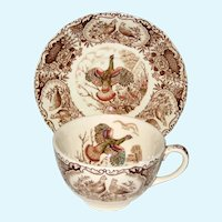 "Johnson Brothers Windsor Ware ""Flying Turkeys"" Cup and Saucer"