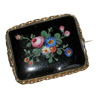 Victorian  Brooch with Enameled Flowers on Black Glass