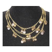 Three Strand Necklace with Pale Amber Lucite Briolettes