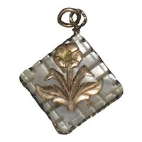 Victorian Carved Mother of Pearl Fob Charm with Gold-Filled Flower