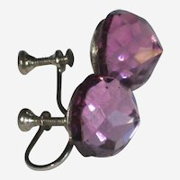 Purple Faceted Lucite Screw-back Earring