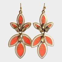 Stella & Dot Orange Hibiscus Statement Earrings