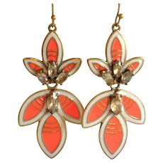 Stella & Dot Orange Hibiscus Statement Earrings