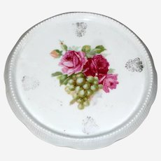 Porcelain Trivet or Tea Tile with Roses and Grapes