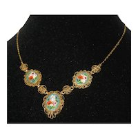 Italian Aqua Micro Mosaic Necklace - Mint