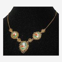 Italian Aqua Micro Mosaic Necklace - Mint