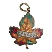 Enameled Brass Canada Maple Leaf Charm