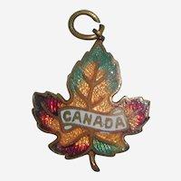 Enameled Brass Canada Maple Leaf Charm