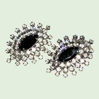 Rhinestone and Black Glass Post Earrings