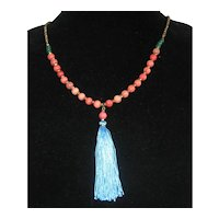 "Long Coral Pink Glass Bead Necklace with Blue Silk Tassel 30""- 36"""