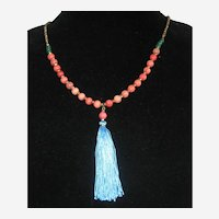 """Long Coral Pink Glass Bead Necklace with Blue Silk Tassel 30""""- 36"""""""