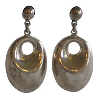 Dramatic Mexican Silver Plated Earrings