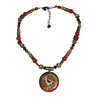 Chico's Bronze and Glass Medallion Necklace