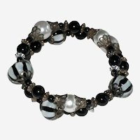 Gothic Black and White Wrap Memory Wire Bracelet