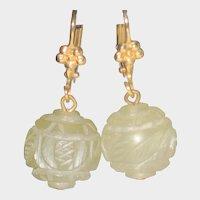 Carved Jadeite Drop Earrings