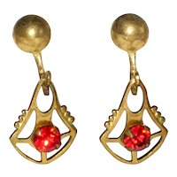 1930's Czech Earrings with Red Glass Stone