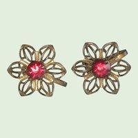 1930's Czech Filigree Flower Earrings with Red Glass Stone