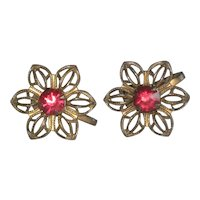 1930's Czech Filigree Flower Earrings with Red Glass Stone