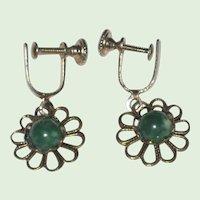 """1930's Czech """"Pierced Look"""" Filigree Earrings Green Glass Stone"""