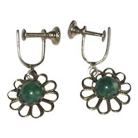 "1930's Czech ""Pierced Look"" Filigree Earrings Green Glass Stone"