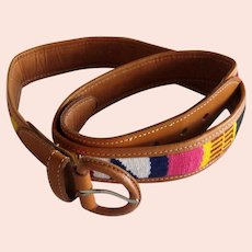 Leather and Hand-woven Fabric Guatemalan Belt - Size 30