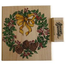 Two Rubber Stamps for Holiday and Christmas - Winter Wreath and Season's Greetings