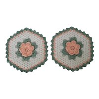 Hand Crocheted Potholders with aqua trim and an Irish Crochet Rose
