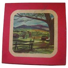 Set of Three Irish Linen Embroidered Handkerchiefs in Original Box