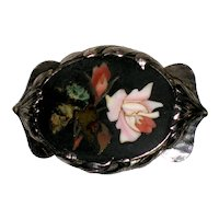 Victorian Pietra Dura Brooch with Pink Roses - Sterling Art Nouveau Setting