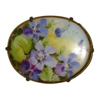 Victorian Hand Painted Porcelain Brooch with Violets